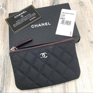 Chanel Black Nylon Quilted Small Cosmetic Case